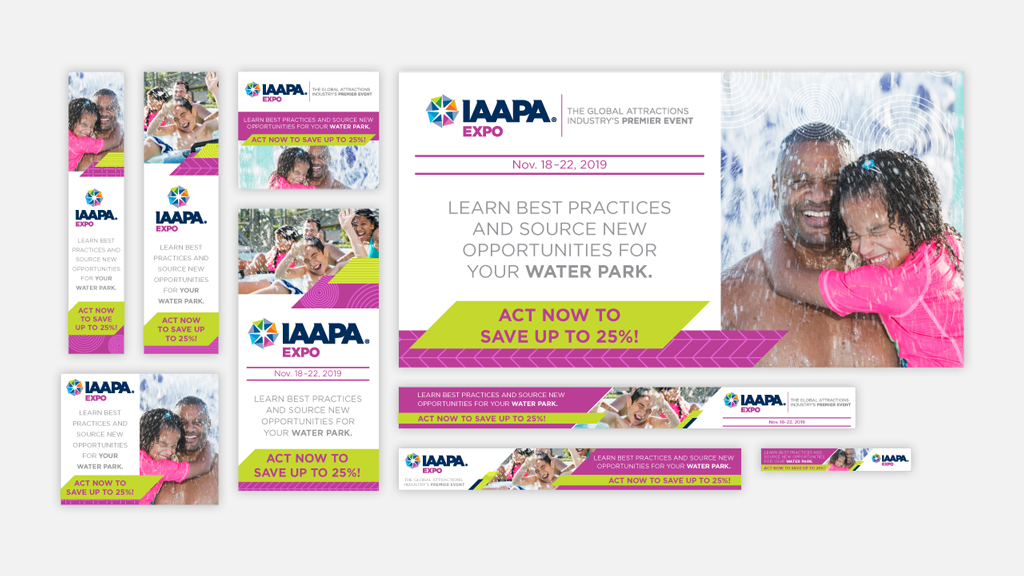 Web ads from a geofencing campaign for IAAPA Expo 2019 targeting water parks..