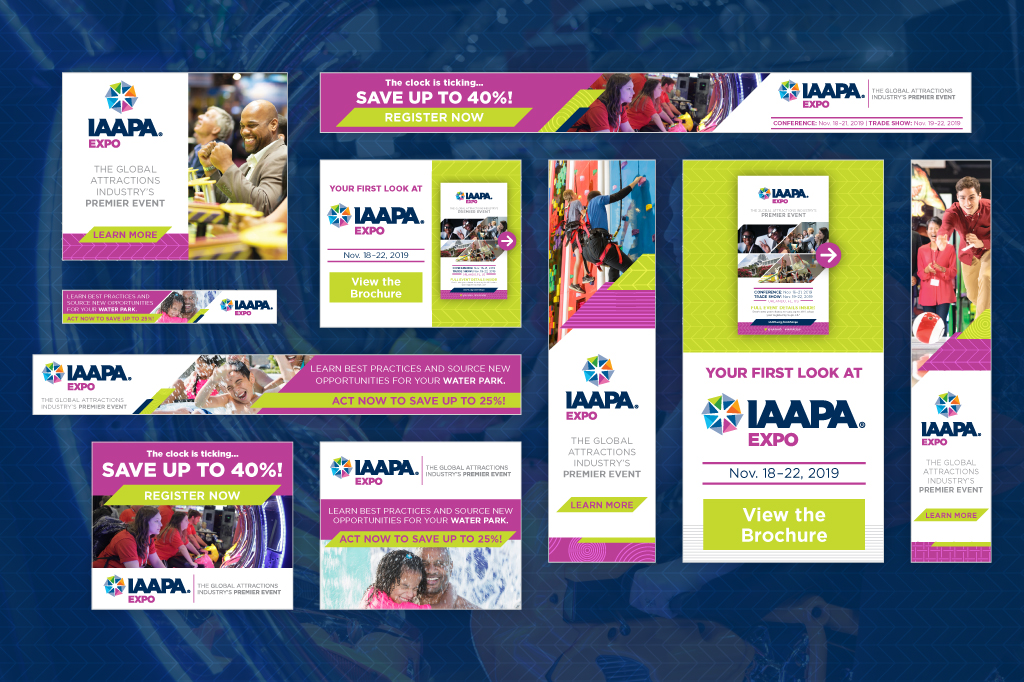 Mixed web banner ads from the IAAPA Expo 2019 online advertising campaign.