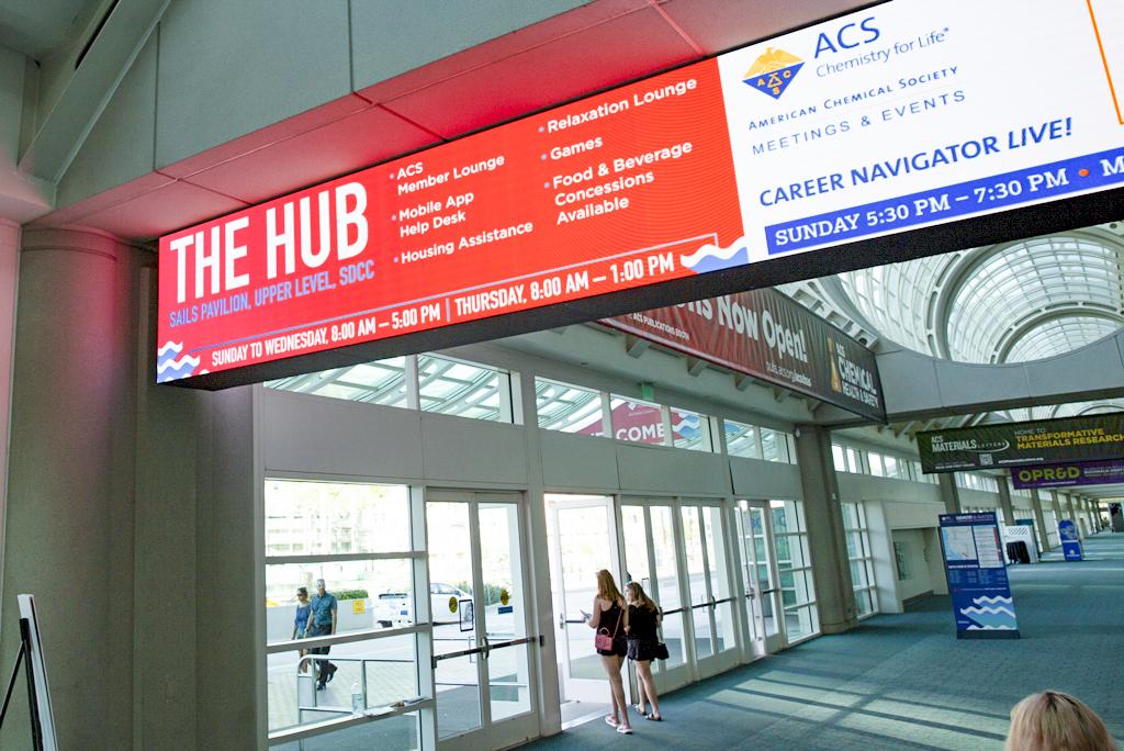 Close-up photo of The Hub and ACS Career Navigator LIVE! digital signage.