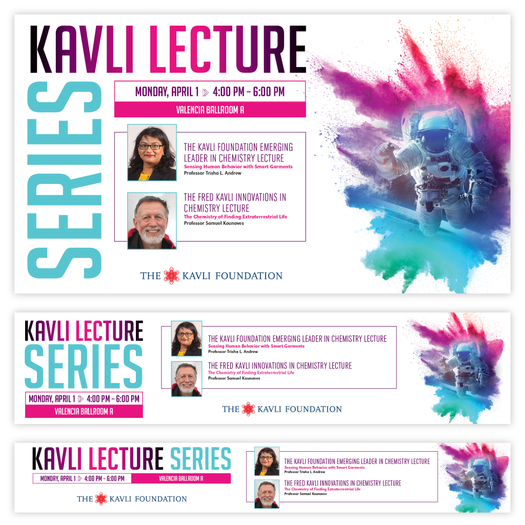 Set of electronic signs for the Kavli Lecture Series.