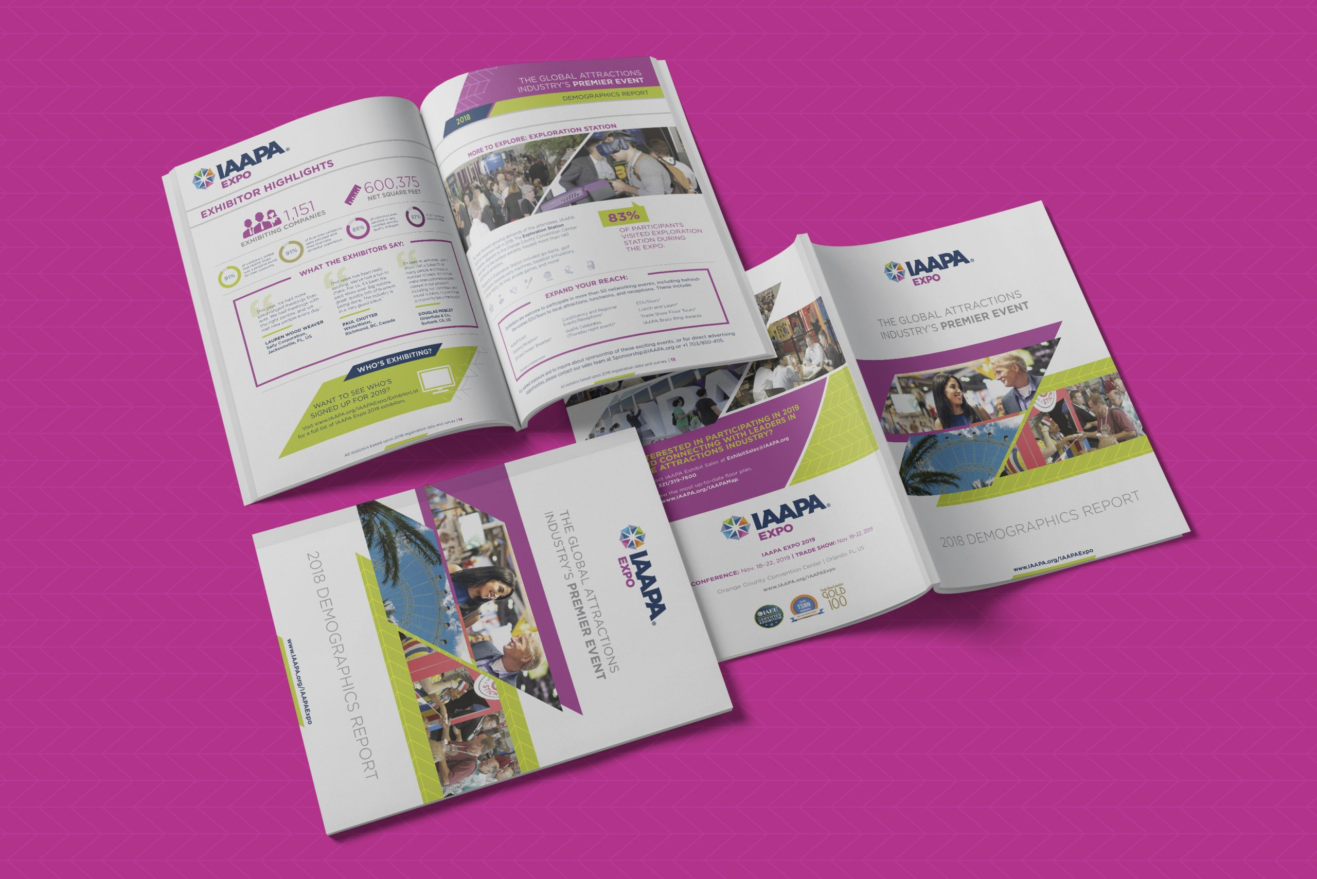 Photo-realistic mock-up of the IAAPA Expo 2018 Demographics Print Report showing the cover, the Exhibitor Highlights interior spread, and the cover spread on a patterned purple background.
