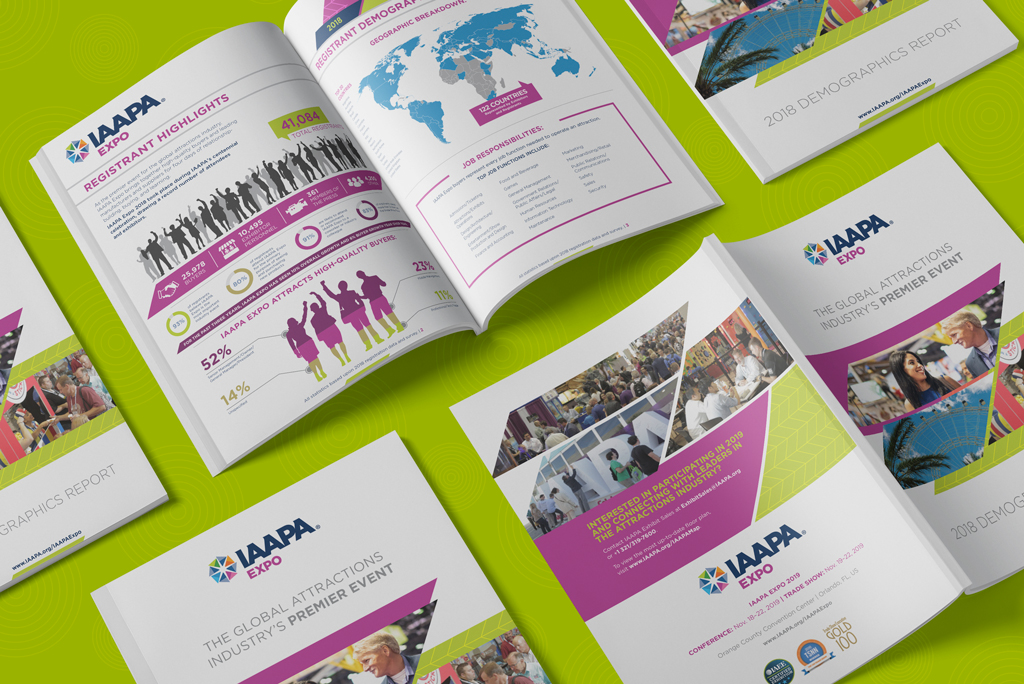 The IAAPA Expo 2018 Demographics Print Report layed out on green with a spotlight on the Registrant Highlighters interior spread.