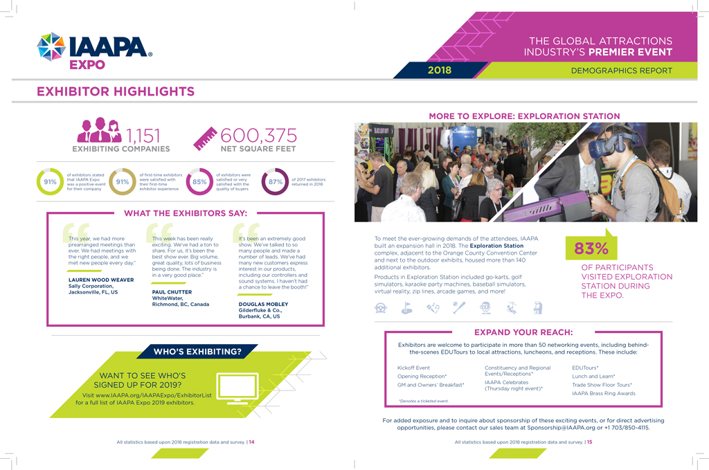 Feature spread of IAAPA Expo 2018's Exhibitor Highlights from the print report.