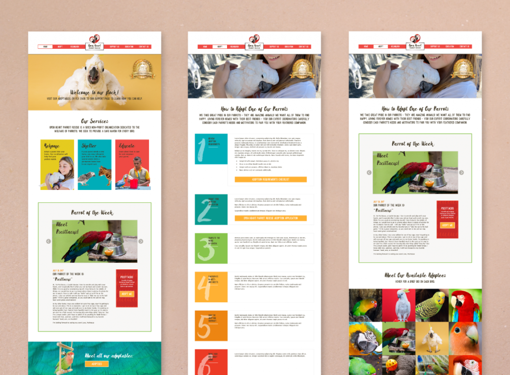 Mock-ups of web page designs for the website of Open Heart Parrot Rescue; static mock-ups are another kind of web design deliverable.