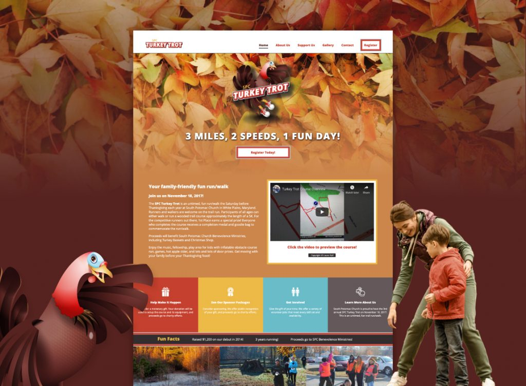 SPC Turkey Trot, a preview of the hand-coded prototype website.