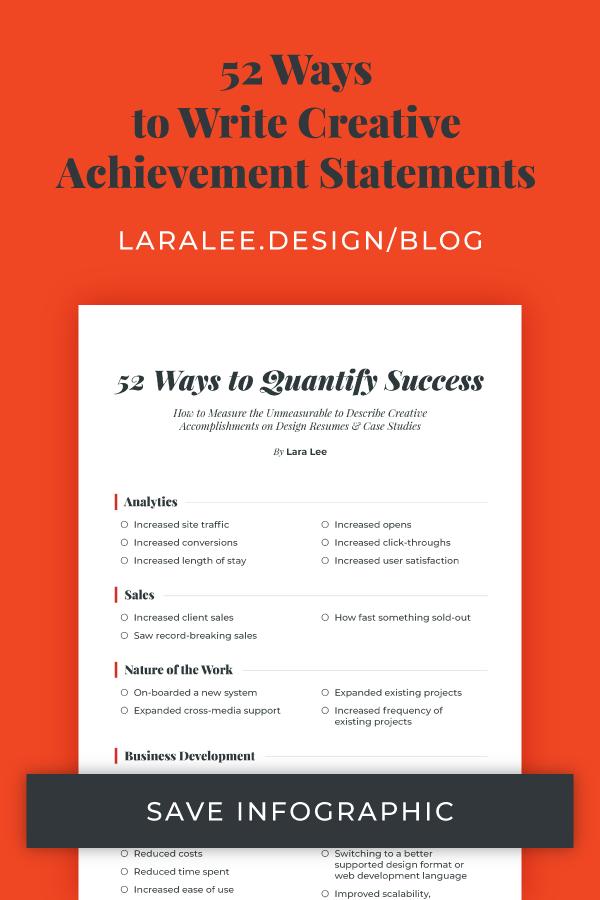 Lara Lee Design | 52 Ways to Write Creative Achievement Statements, Learn More >