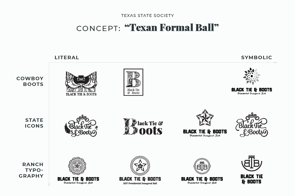 Logos for the Texas State Society Black Tie & Boots Presidential Inaugural Ball explored not only several different concepts from boots to bluebonnets to cattle brands, but also several different styles, like pure type to elaborate illustration.