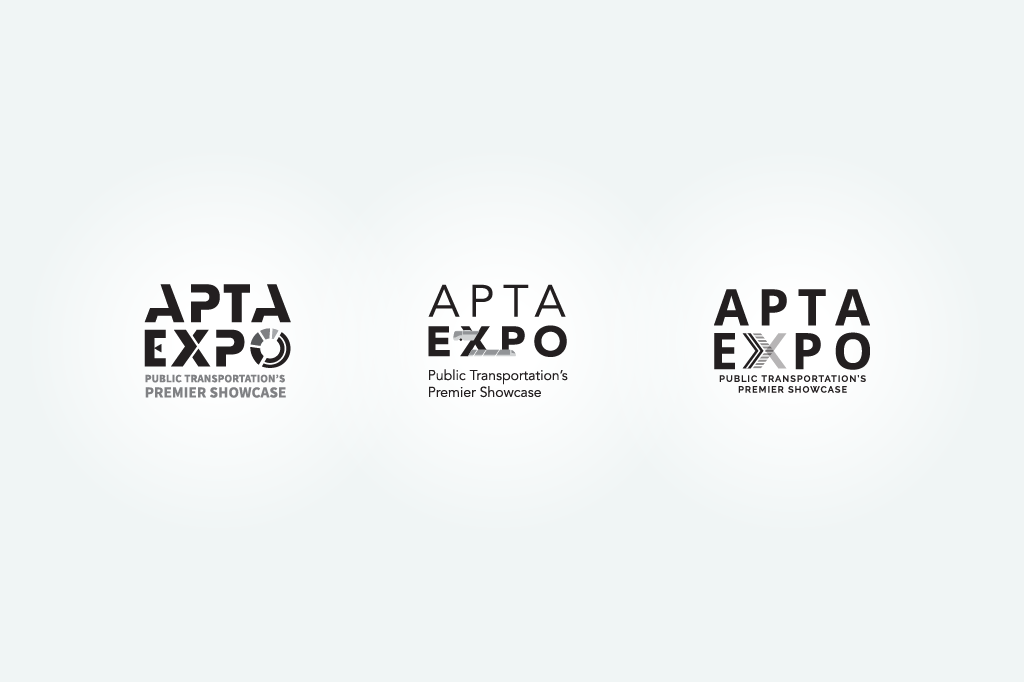 Logo creation for APTA Expo explored ways to combine road and rail for a transportation expo.
