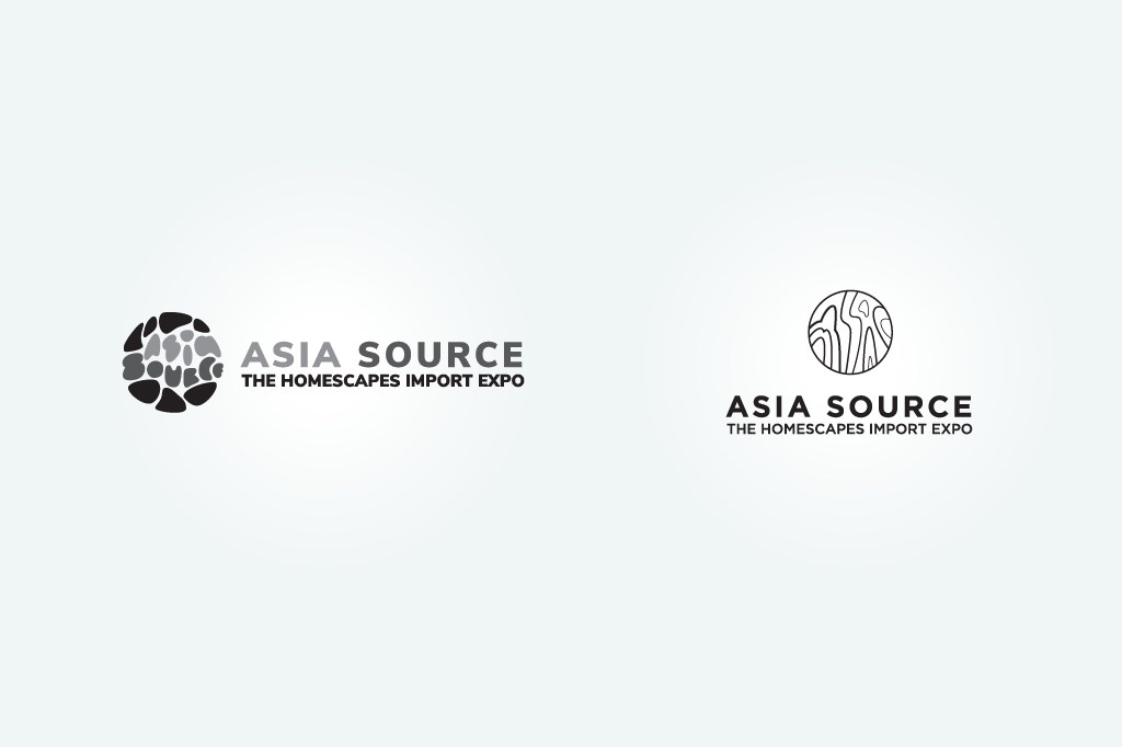 The logo creation process for the NTP Asia Source played with capturing stone in the logos, from the river rock in Chinese gardens to black lines from famous Chinese marble.