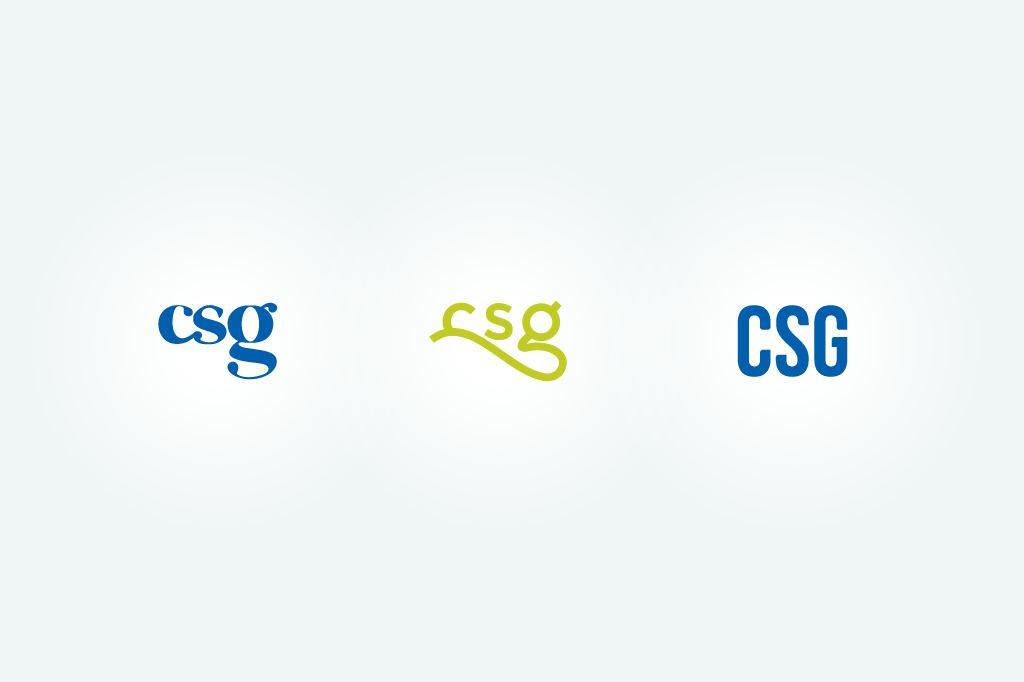 High-fidelity logotype sketches for the new CSG Creative logo.