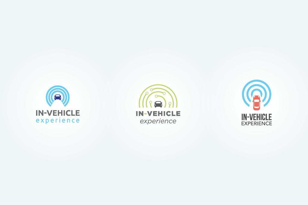 High-fidelity logotype sketches for the In-Vehicle Experience pavilion at NAB Show in Las Vegas.