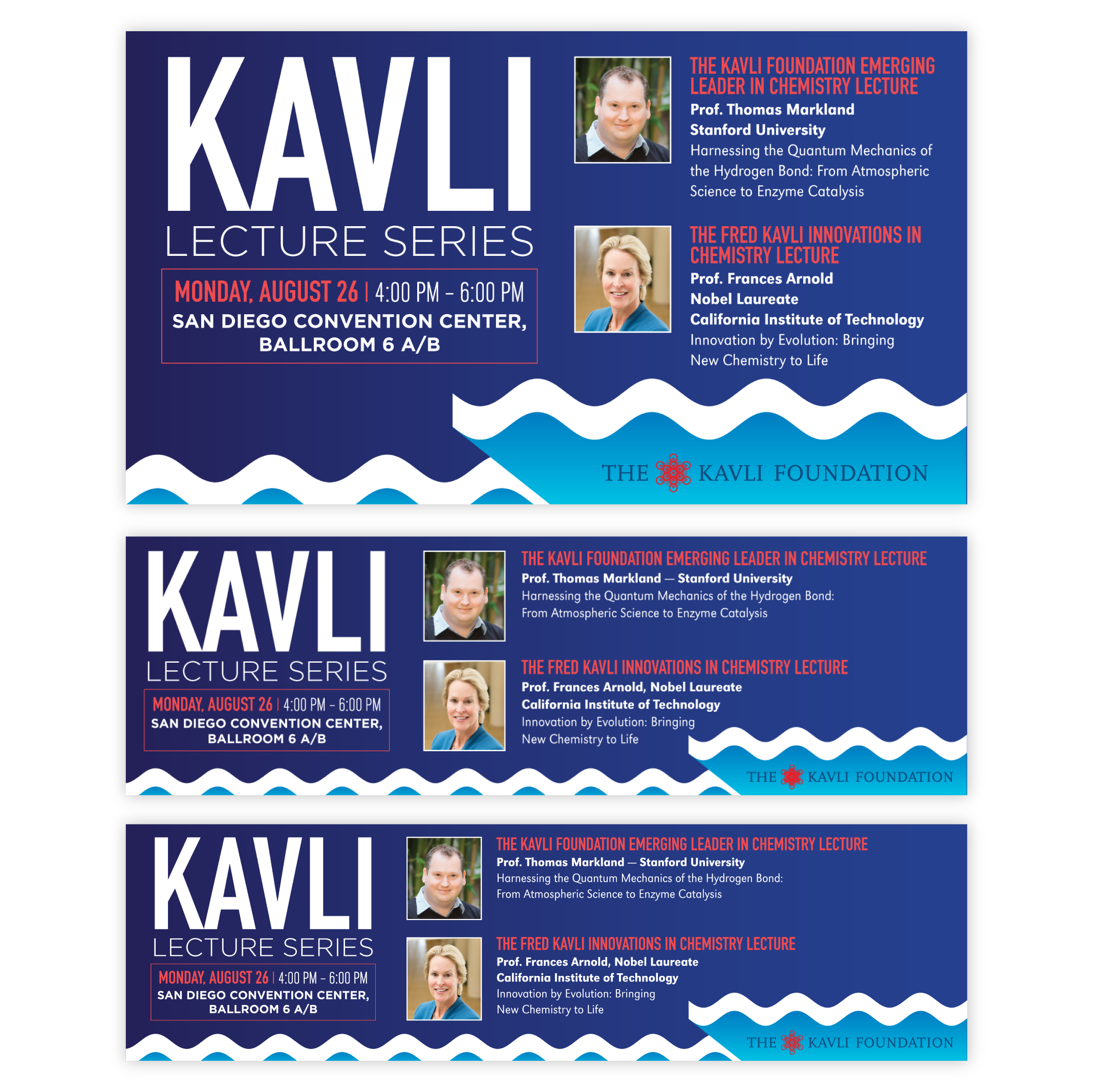 Kavli Lecture Series set of electronic signage.