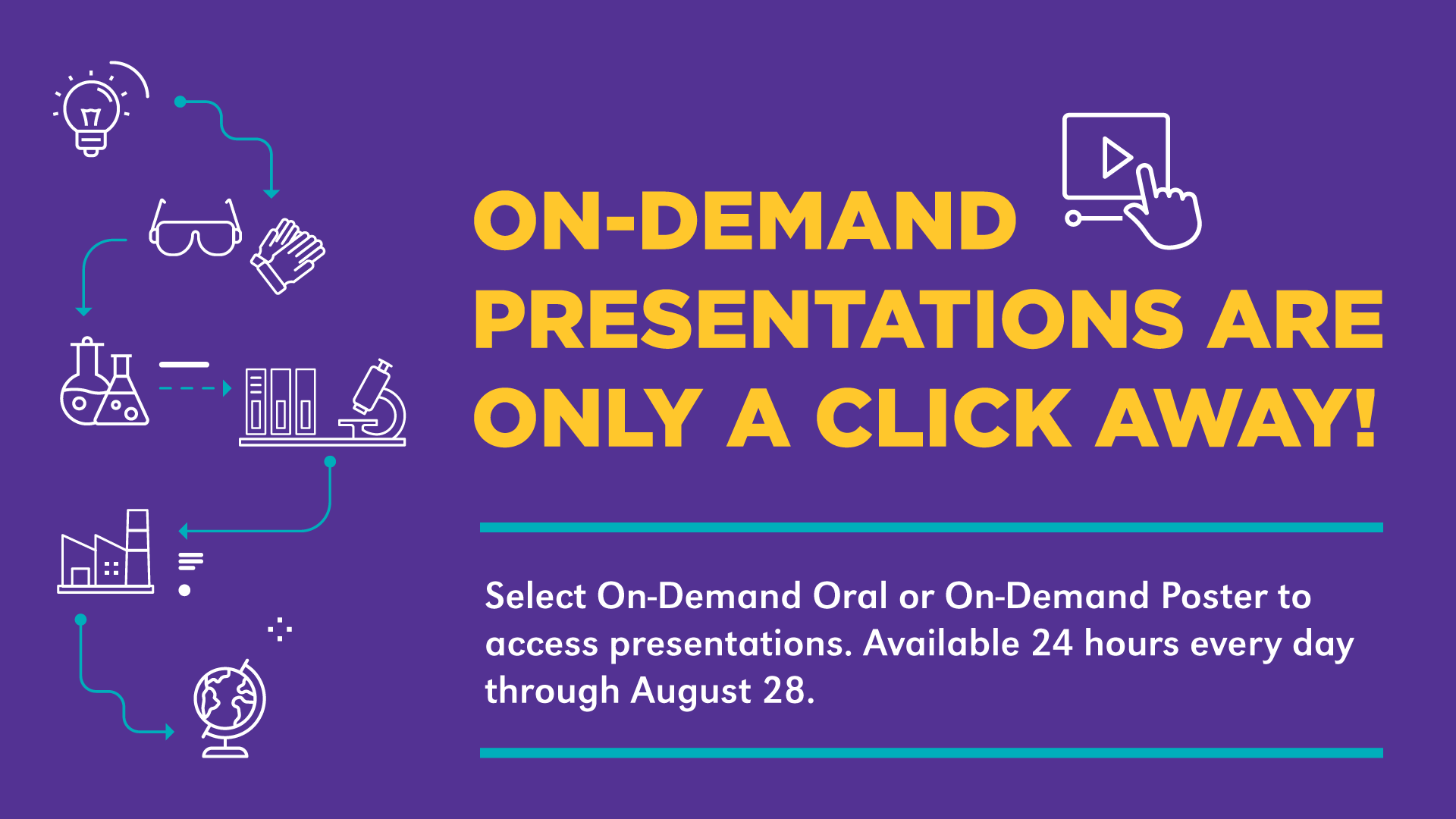 Another virtual sign explains sessions and presentations were available on-demand.