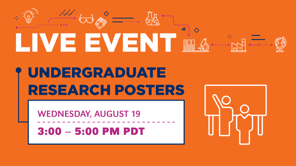 The live event, Undergraduate Research Posters, also received its own virtual sign.
