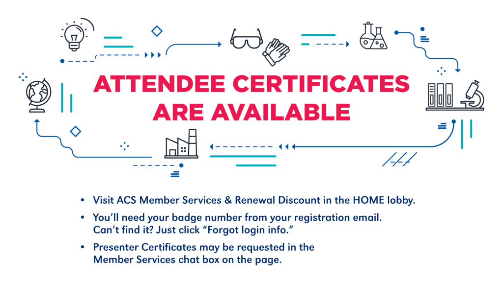 Another sign reminds attendees that certificates are available and how to get one.