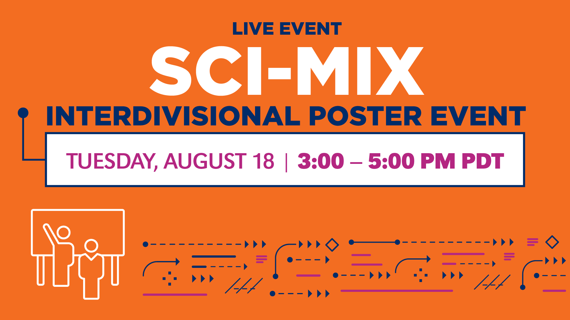 This live event, Sci-Mix Interdivisional Poster Event, has its own sign.