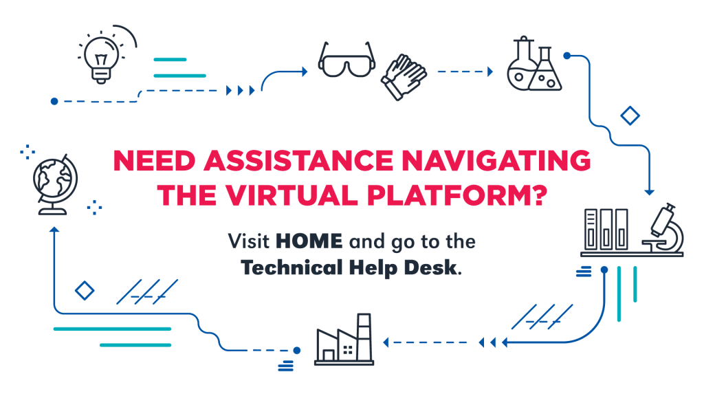 """Virtual signage stating, """"Need assistance navigating the virtual platform? Visit HOME and go to the Technical Help Desk."""""""