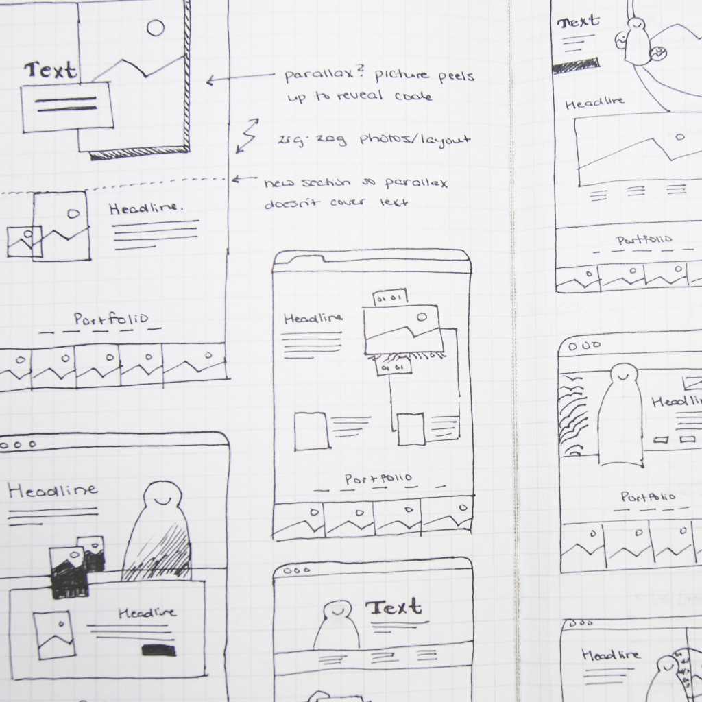 Close-up of hand-drawn wireframe sketches for a landing web page.