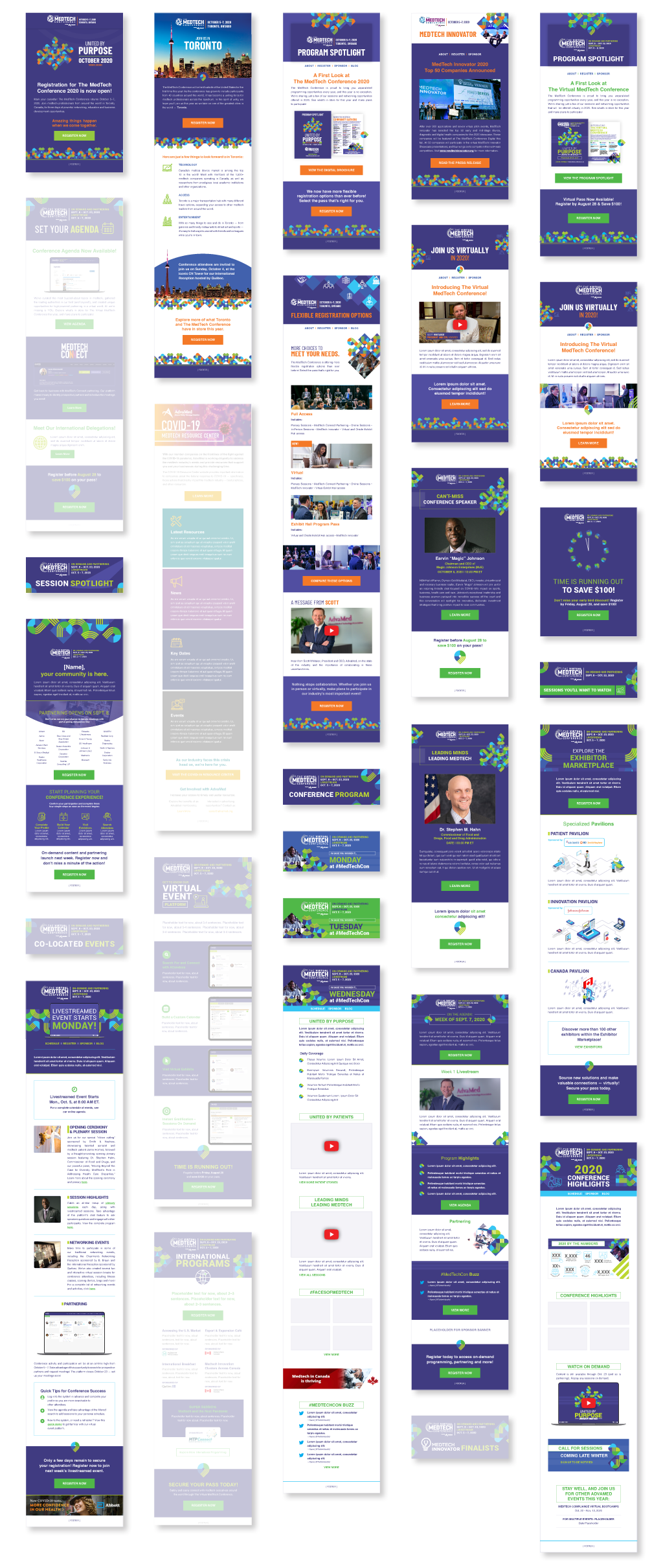 All the header, template, and one-off designs from the 2020 email marketing efforts.