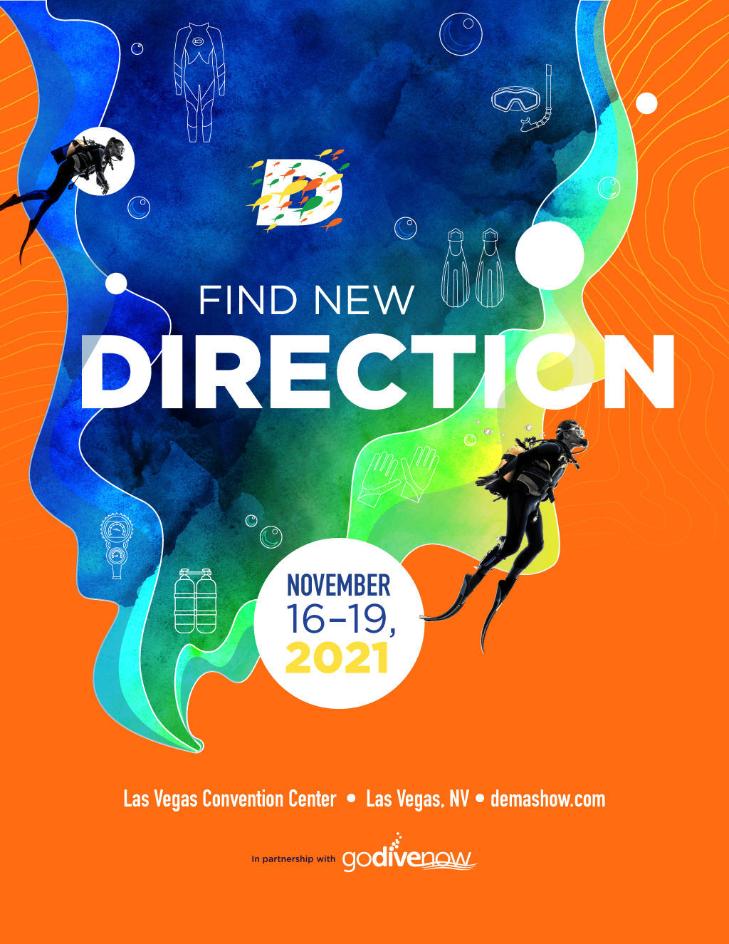 """1st brand identity concept and branding feature image for the marketing tagline, """"Find New Direction."""""""
