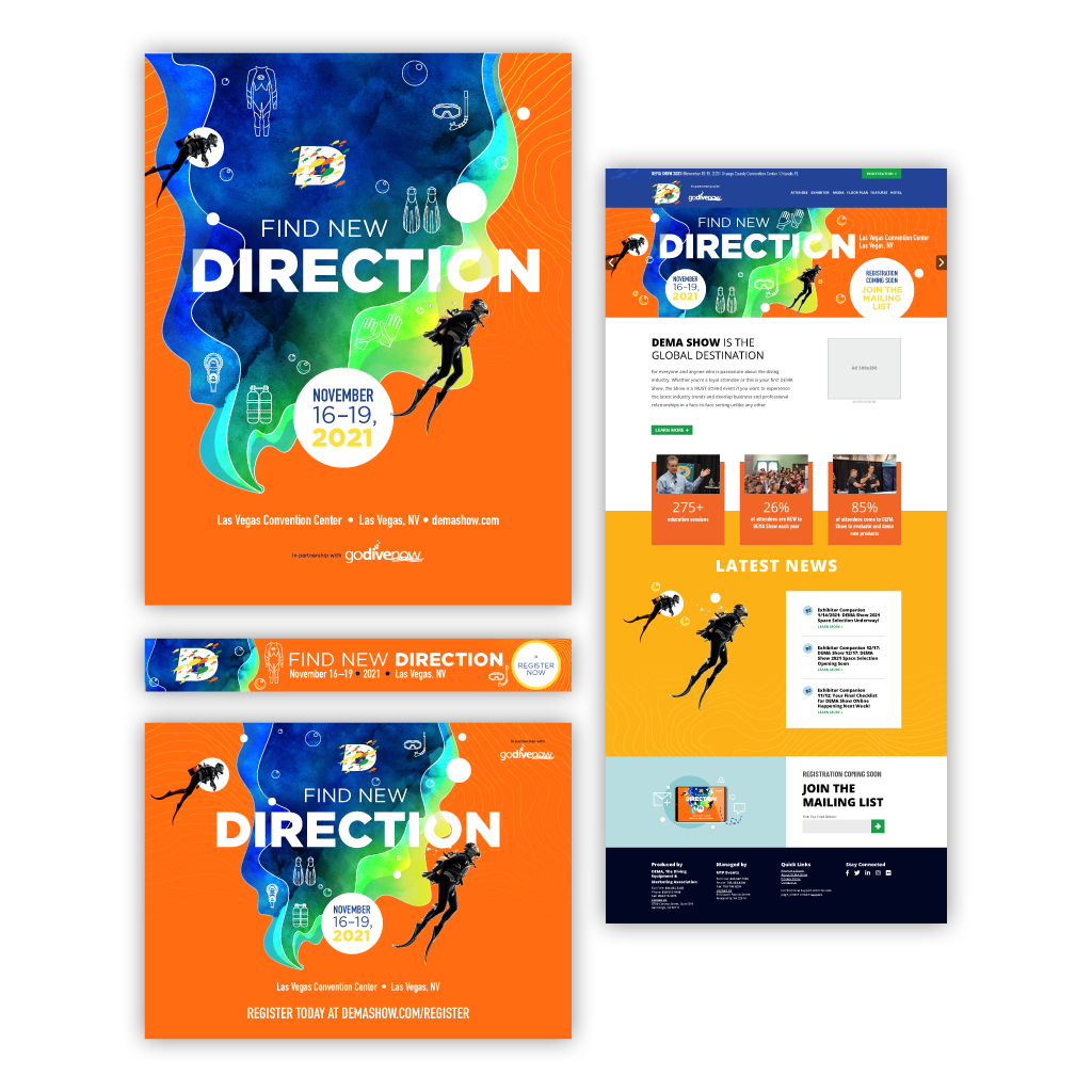 """Final brand identity creative concepts and responsive designs for the first """"Find New Direction"""" event theme."""