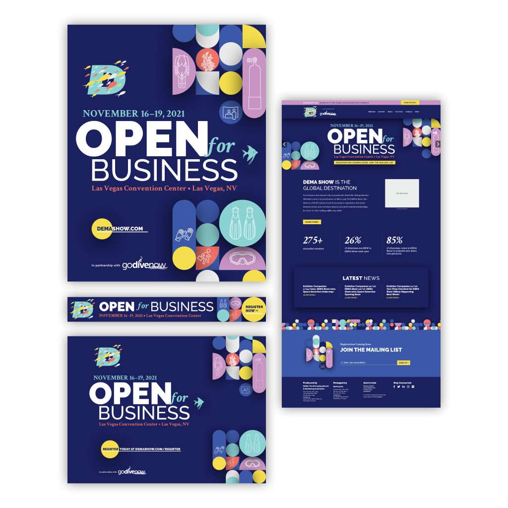 """Final brand identity creative concepts and responsive designs for the first """"Open for Business"""" event theme."""