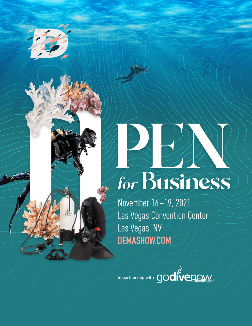 """2nd core concept and branding feature image for the marketing tagline, """"Open for Business."""""""
