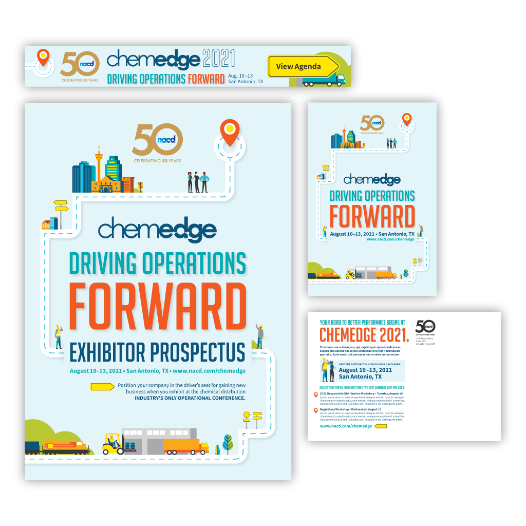 """Final branding concepts and responsive designs for the """"Driving Operations Forward"""" event theme."""