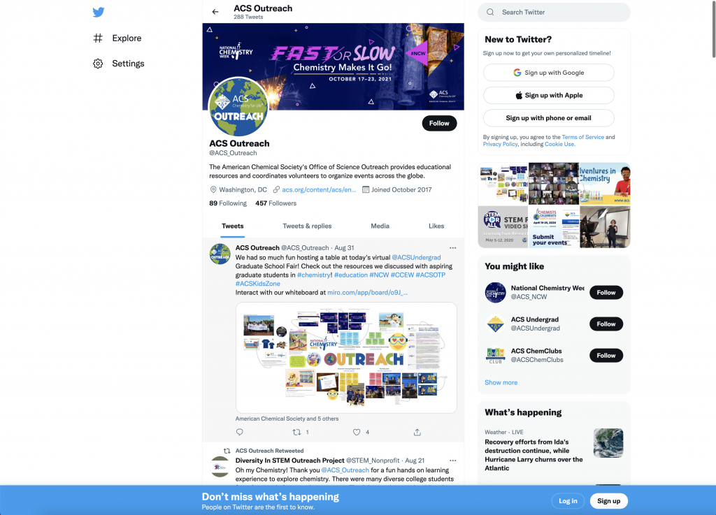 Twitter profile social media branding on a desktop.