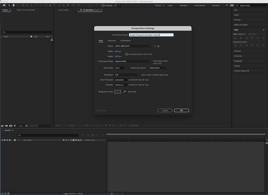The first step to animating simple fireworks: make a new comp!