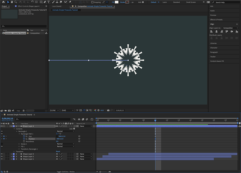 """Screenshot overview (Step 10a) of the middle rocket launch keyframes in """"how to animate simple fireworks."""""""