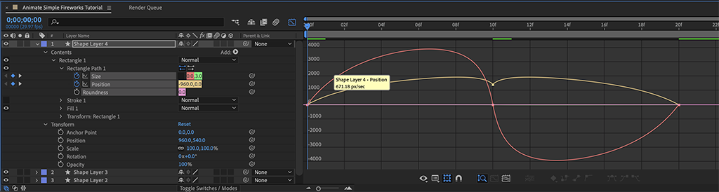 Screenshot of Step 11a, before the Easy Ease graph edits.