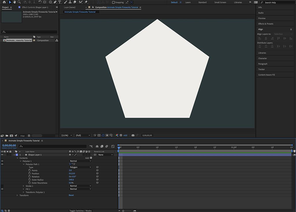 The start of Step 2a shows After Effects make a pentagon by default when placing a new polygon Shape Layer.