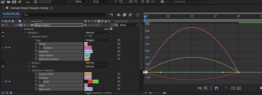 Screenshot overview of Step 4a, before any edits to the Graph Editor.