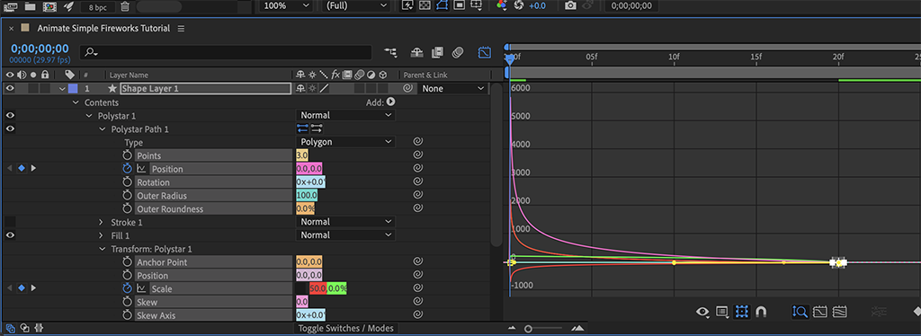 To animate simple fireworks, customize the right-side easing on the exploding shape in Step 4c.