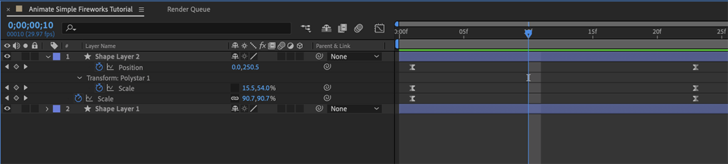Focus on the After Effects Timeline panel overview, where keyframes have been moved.
