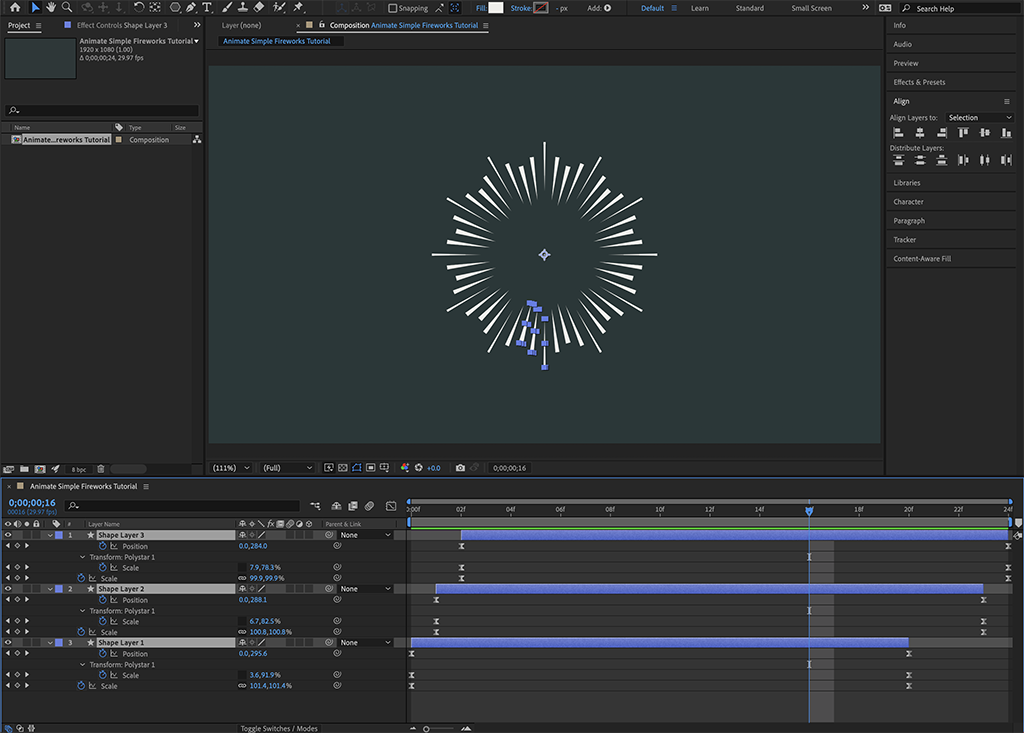 """Screenshot of Step 8 in """"how to animate simple fireworks"""" showing the completed trimming of the Timeline's purple bars."""