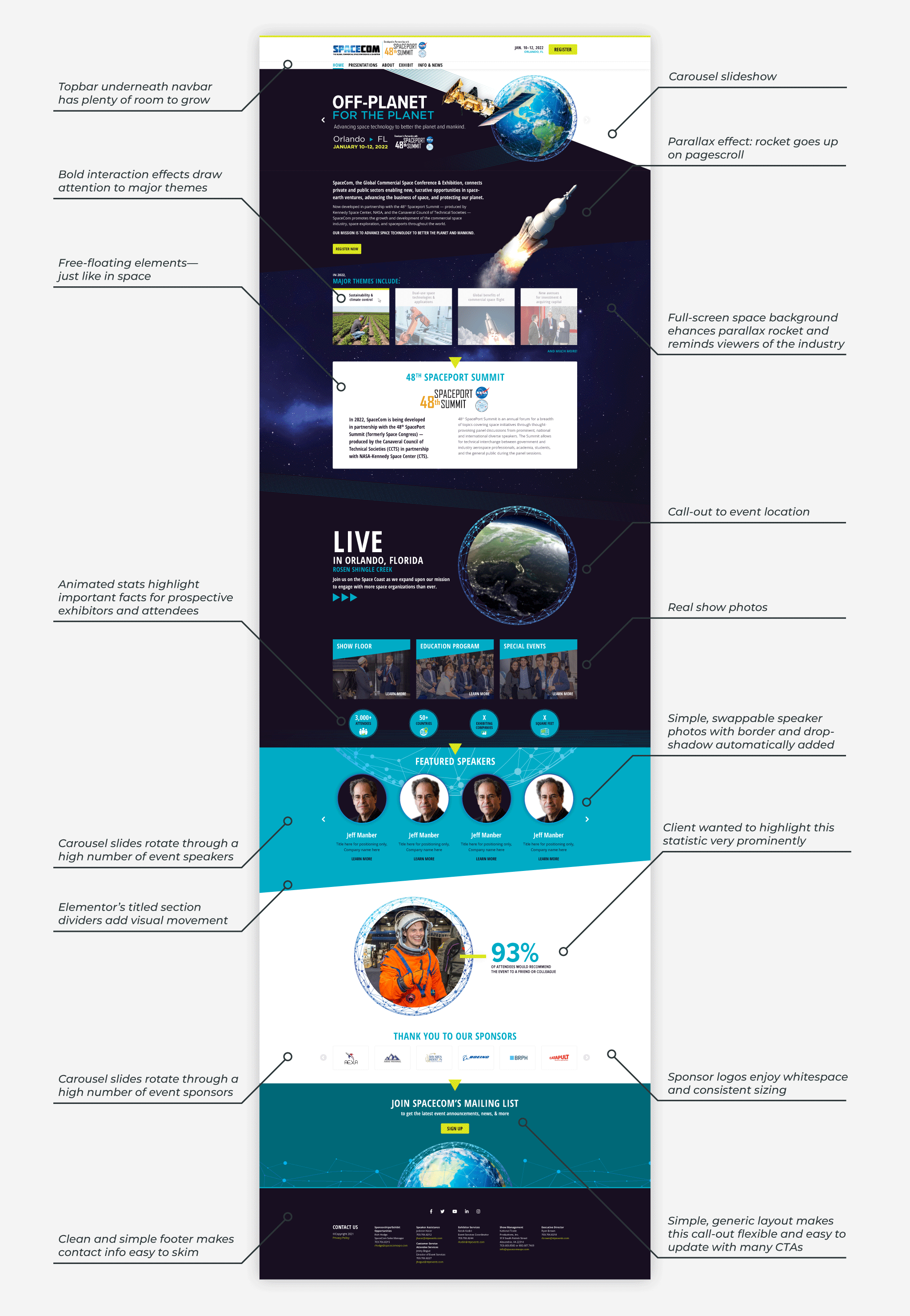 Infographic: the SpaceCom 2022 Conference and Expo Website Design homepage builds a clear visual hierarchy with a simple layout, bold graphics and colors, and eye-catching interactive effects for parallax on scroll, hover, etc.