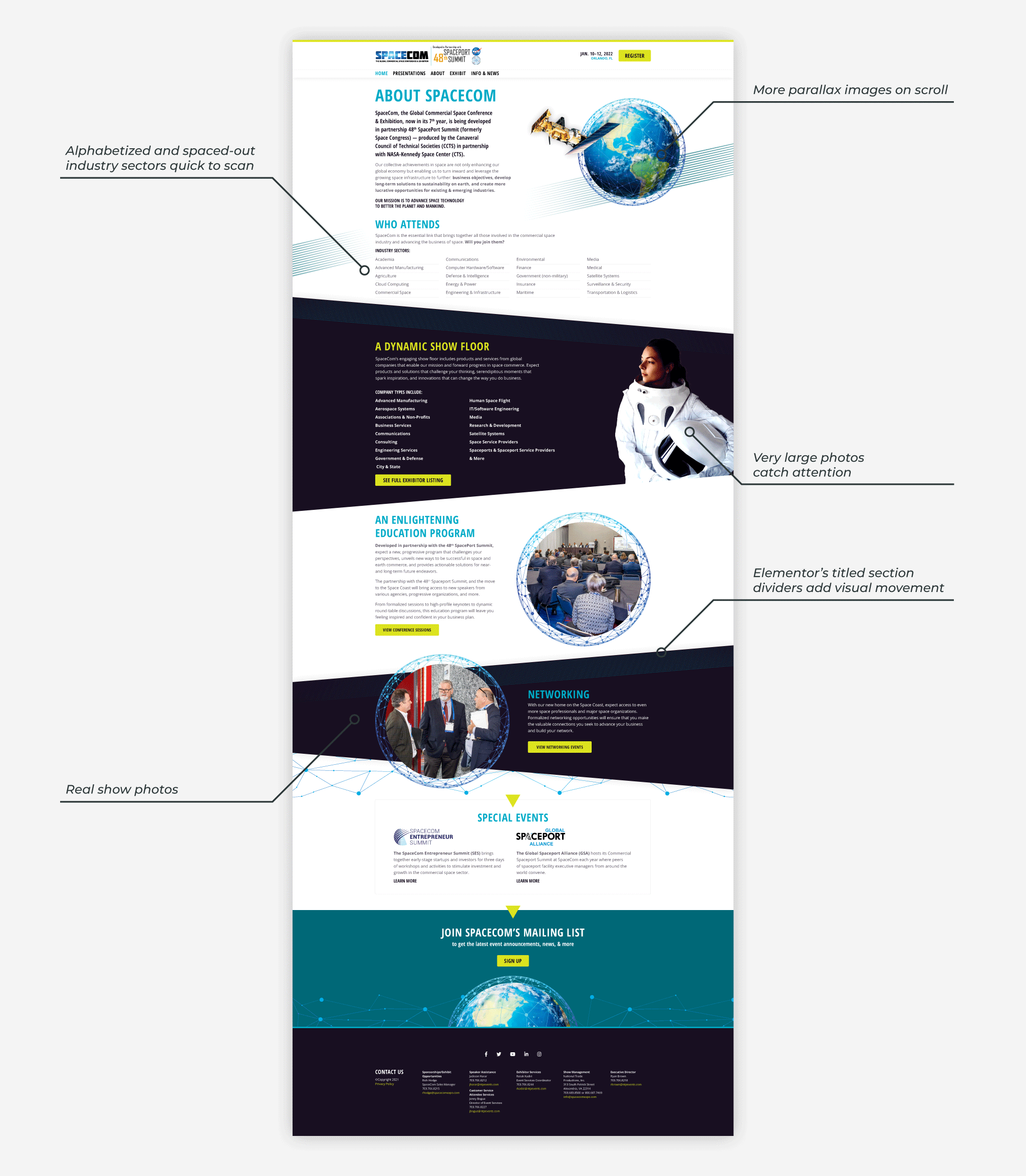 Infographic: the About page website design draws attention with parallax effects, large photos, and a clear text hierarchy.