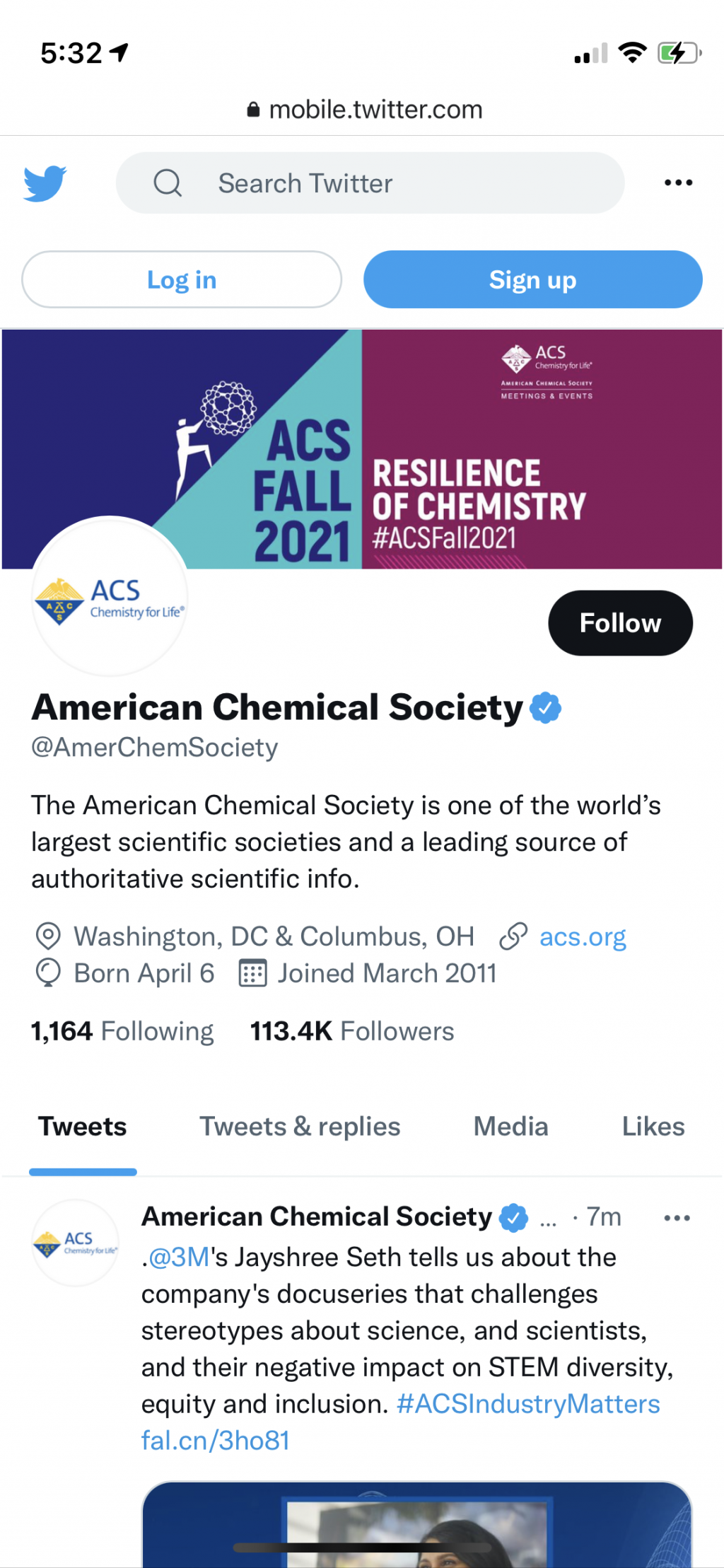 Live Twitter screenshot of a branded page cover.