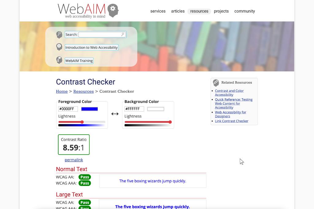 Screenshot of WebAIM's color contrast checker tool.