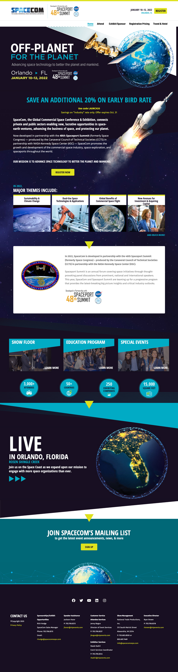 Screenshot: the SpaceCom 2022 Conference and Expo Website Design, as finalized after we delivered final artwork.