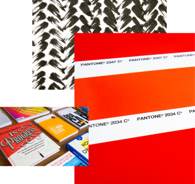 Graphic. Photo collage of ink textures, Pantone color swatches, and an array of graphic design and web development books.